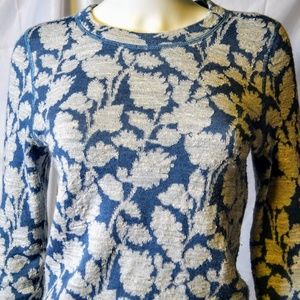 LOFT Wool Blend Floral Jacquard Crewneck Sweater S